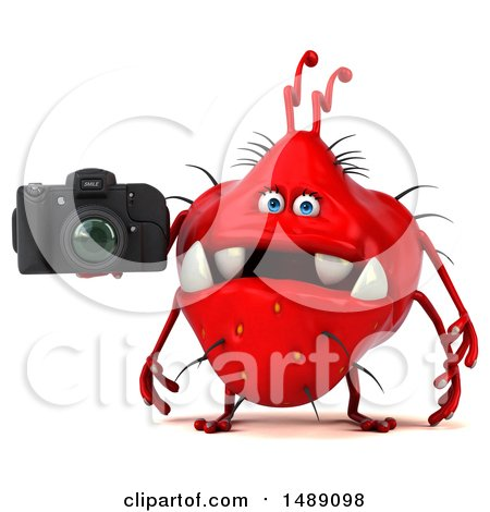 Clipart of a 3d Red Monster or Germ Character, on a White Background - Royalty Free Illustration by Julos