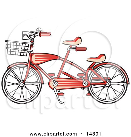 Brand New Red Tandem Bicycle With A Basket On The Front Retro  Posters, Art Prints