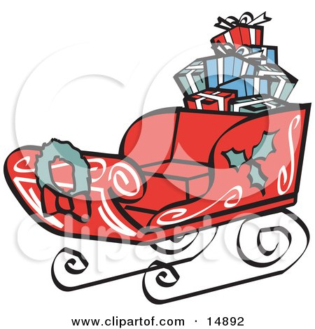 Red Sleigh Decorated With Holly And A Wreath, Carrying Presents Retro Clipart Illustration by Andy Nortnik