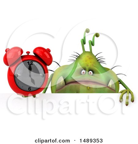 Clipart of a 3d Green Monster or Germ Character, on a White Background - Royalty Free Illustration by Julos