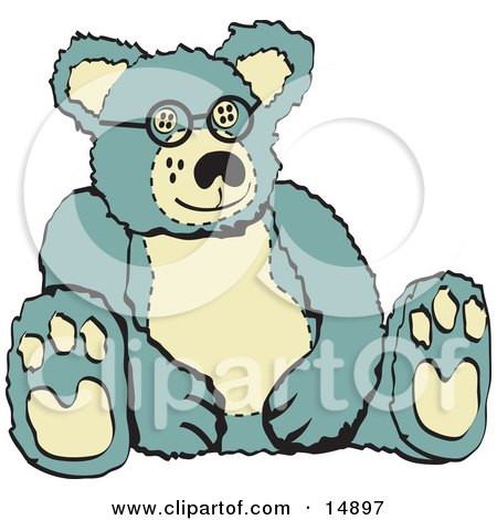 Blue And Tan Stuffed Teddy Bear Wearing Glasses Retro Clipart Illustration