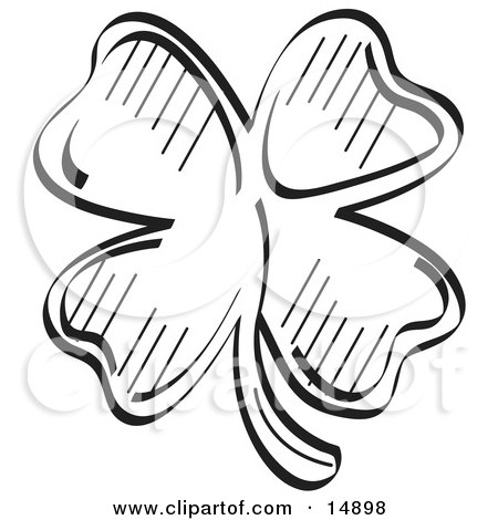 Lucky Shamrock With Four Leaves, Black and White Clipart Illustration by Andy Nortnik