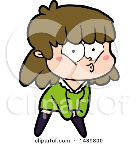 Cartoon Clipart Whistling Girl by lineartestpilot