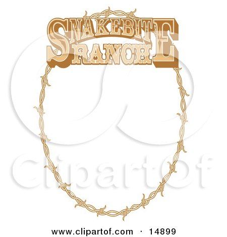 Oval Border Frame Of Barbed Wire Over A White Background Clipart ...