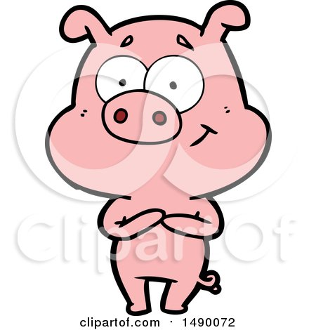 Clipart Happy Cartoon Pig by lineartestpilot