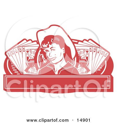Pretty Cowgirl With A Mole, Wearing A Hat And Standing Between Hands Of Playing Cards On A Red Banner Clipart Illustration by Andy Nortnik