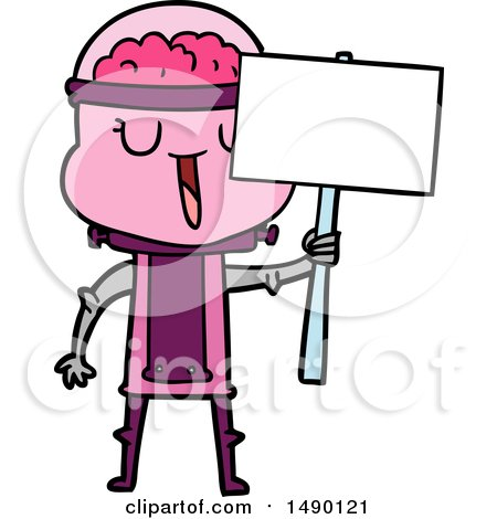 Clipart Happy Cartoon Robot with Sign by lineartestpilot