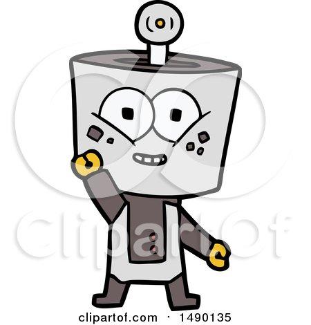 Clipart Happy Cartoon Robot Waving Hello by lineartestpilot
