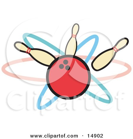 Red Bowling Ball Hitting Three Bowling Pins Clipart Illustration by Andy Nortnik