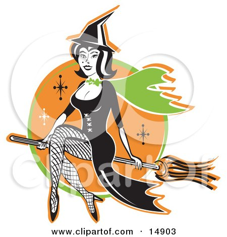 Cute Black Haired Witch In A Pointy Hat, Long Black Dress And Fishnet Stockings, Sitting Cross Legged On A Broomstick While Flying Through The Night Sky Clipart Illustration by Andy Nortnik