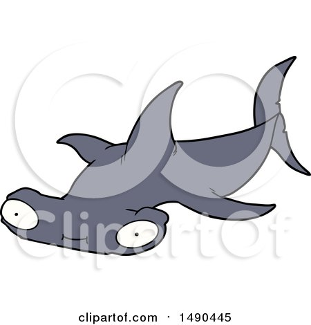 Clipart Cartoon Hammerhead Shark by lineartestpilot