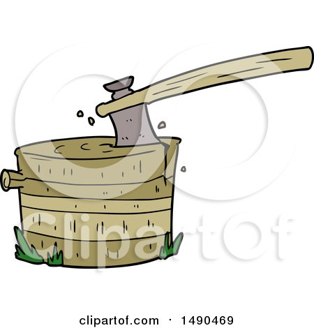 Clipart Cartoon Tree Stump with Axe by lineartestpilot