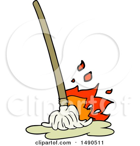 Cartoon Of A Brush And Dustpan Royalty Free Vector