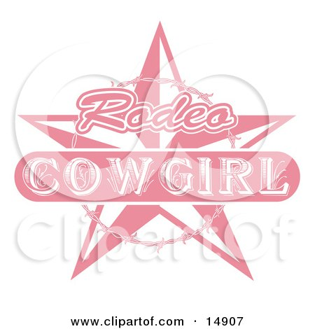Pink Rodeo Cowgirl Sign With A Star And Barbed Wire  Posters, Art Prints
