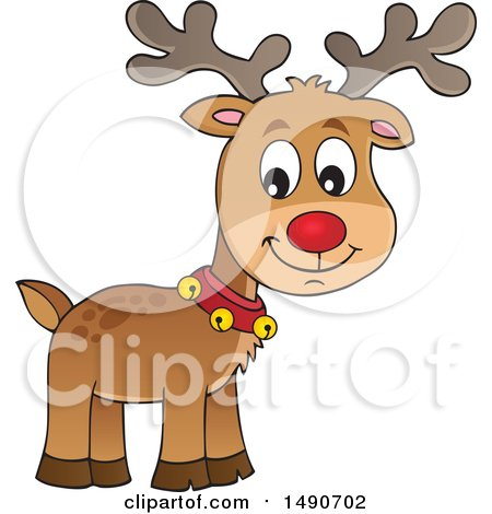 Clipart of a Red Nosed Christmas Reindeer - Royalty Free Vector Illustration by visekart