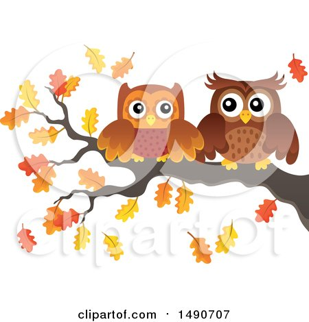 Clipart of a Pair of Owls on an Autumn Branch - Royalty Free Vector Illustration by visekart