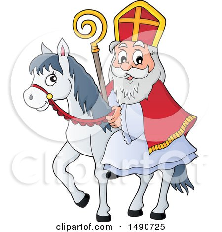 Clipart of Sinterklaas on a Horse - Royalty Free Vector Illustration by visekart