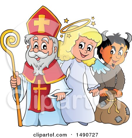 Clipart of Sinterklaas with an Angel and Krampus - Royalty Free Vector Illustration by visekart