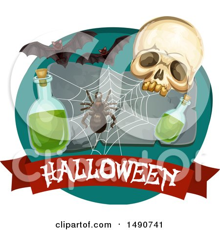 Clipart of a Skull with a Spider, Web, Potion and Bats over a Halloween Banner - Royalty Free Vector Illustration by Vector Tradition SM