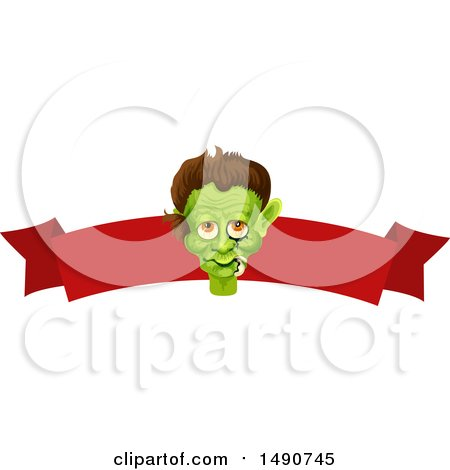 Clipart of a Frankenstein Head over a Blank Banner - Royalty Free Vector Illustration by Vector Tradition SM