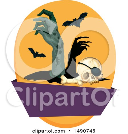 Clipart of a Human Skull with Zombie Hands and Bats over a Blank Banner - Royalty Free Vector Illustration by Vector Tradition SM
