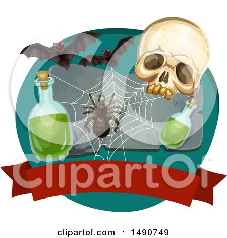 Clipart of a Skull with a Spider, Web, Potion and Bats over a Blank Banner - Royalty Free Vector Illustration by Vector Tradition SM