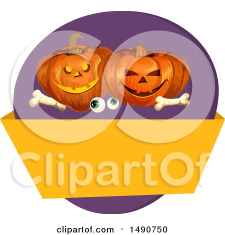 Clipart of a Pair of Eyeballs, Bones and Halloween Jackolantern Pumpkins over a Blank Banner - Royalty Free Vector Illustration by Vector Tradition SM