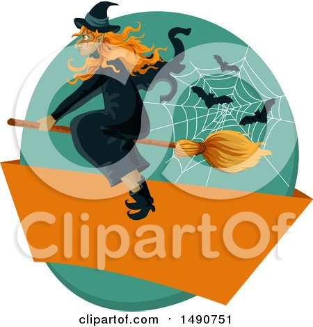 Clipart of a Flying Witch with Bats and a Web over a Blank Banner - Royalty Free Vector Illustration by Vector Tradition SM