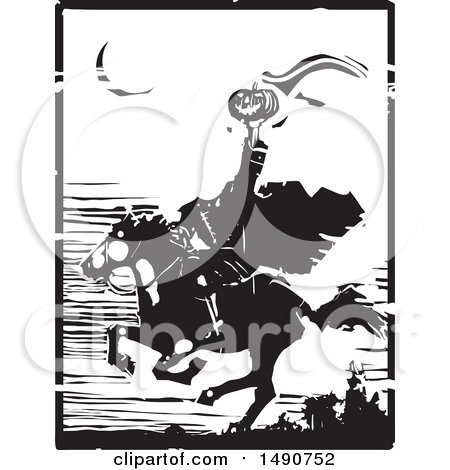 Clipart of a Horse Back Headless Horseman Holding up a Jackolantern in Balck and White Woodcut - Royalty Free Vector Illustration by xunantunich