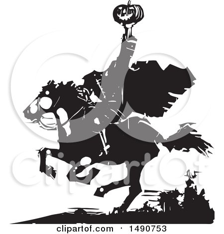 Clipart of a Horseback Headless Horseman Holding up a Jackolantern in Balck and White Woodcut - Royalty Free Vector Illustration by xunantunich