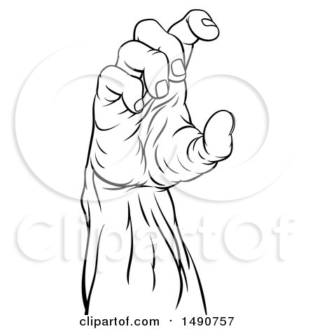 Clipart Of A Black And White Zombie Hand Holding A