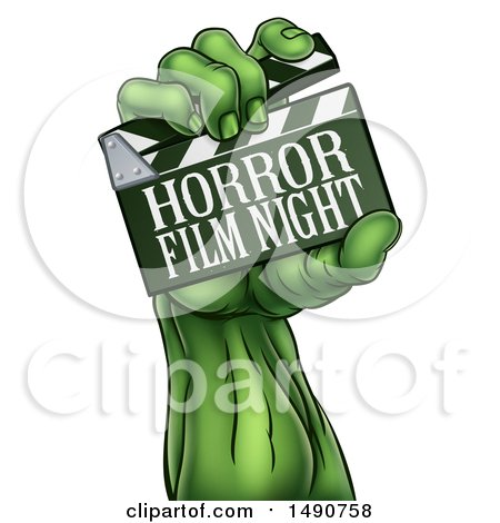 Clipart of a Green Zombie Hand Holding a Horror Film Night Clapperboard - Royalty Free Vector Illustration by AtStockIllustration