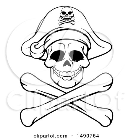 Clipart of a Black and White Pirate Skull and Crossbones Jolly Roger - Royalty Free Vector Illustration by AtStockIllustration