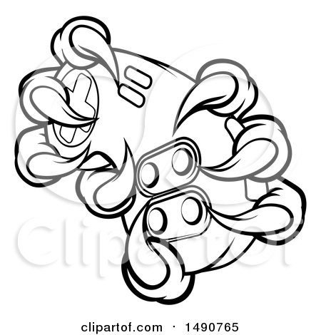 Clipart of Black and White Monster Claws Gripping a Video Game Controller - Royalty Free Vector Illustration by AtStockIllustration