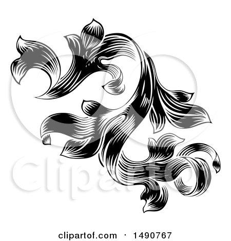 Clipart of a Black and White Ornate Vintage Floral Design Element - Royalty Free Vector Illustration by AtStockIllustration