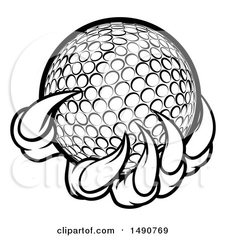 Clipart of a Black and White Monster or Eagle Claws Holding a Golf Ball - Royalty Free Vector Illustration by AtStockIllustration