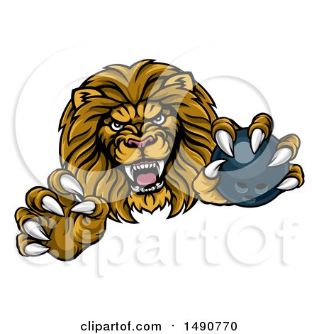 Clipart of a Tough Clawed Male Lion Monster Mascot Holding a Bowling Ball - Royalty Free Vector Illustration by AtStockIllustration