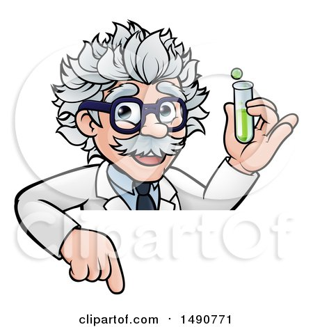 Clipart of a Cartoon Senior Male Scientist Holding a Test Tube over a Sign - Royalty Free Vector Illustration by AtStockIllustration