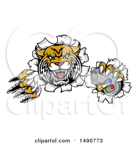 Clipart of a Vicious Wildcat Mascot Shredding Through a Wall with a Video Game Controller - Royalty Free Vector Illustration by AtStockIllustration