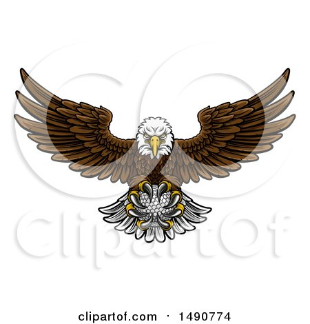 Clipart of a Cartoon Swooping American Bald Eagle with a Golf Ball in His Talons - Royalty Free Vector Illustration by AtStockIllustration