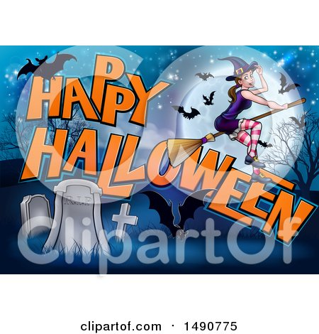Clipart of a Witch and Bats Flying over a Full Moon, Happy Halloween Greeting and Cemetery - Royalty Free Vector Illustration by AtStockIllustration