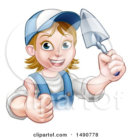 Clipart of a White Female Mason Worker Holding a Trowel and Giving a Thumb up - Royalty Free Vector Illustration by AtStockIllustration