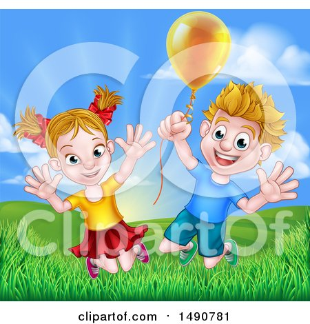 Clipart of a Cartoon Happy Excited Blond Caucasian Boy and Girl Jumping Outdoors with a Balloon - Royalty Free Vector Illustration by AtStockIllustration