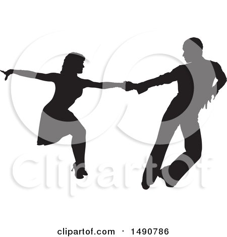 Clipart of a Silhouetted Latin Dancer Couple - Royalty Free Vector Illustration by dero