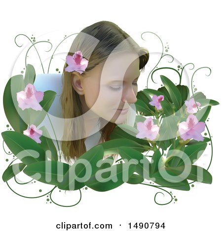 Clipart of a Woman Smelling Flowers - Royalty Free Vector Illustration by dero