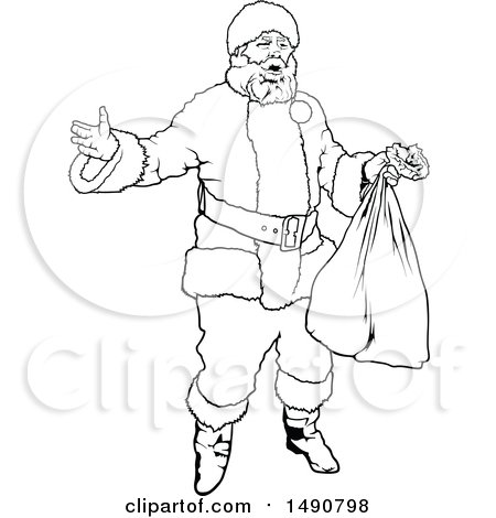 Clipart of a Black and White Santa Claus - Royalty Free Vector Illustration by dero
