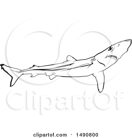 Clipart of a Black and White Blue Shark - Royalty Free Vector Illustration by dero
