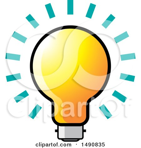 Clipart of a Bright Light Bulb - Royalty Free Vector Illustration by Lal Perera