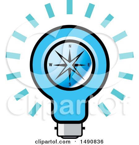 Clipart of a Bright Blue Light Bulb with a Compass - Royalty Free Vector Illustration by Lal Perera