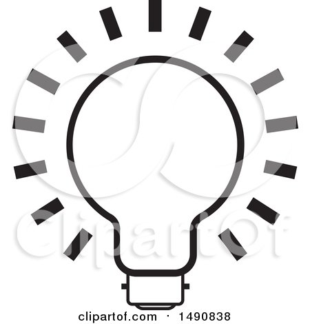 Clipart of a Black and White Bright Light Bulb - Royalty Free Vector Illustration by Lal Perera